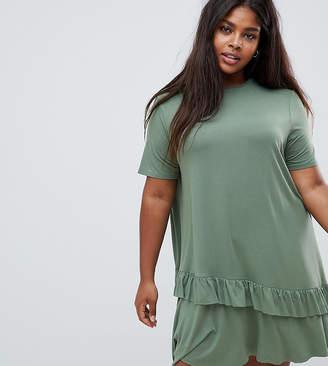 Asos DESIGN Curve mini t-shirt dress with drop ruffle hem
