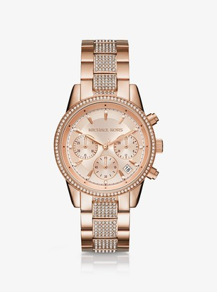 Ritz Pave Rose Gold-Tone Watch