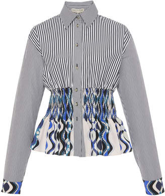 Emilio Pucci Smocked Silk Cotton Shirt
