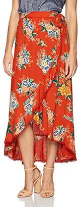 Angie Women's Floral Print Wrap Skirt