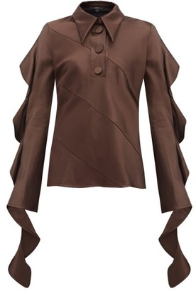 Ellery Obsessed Panelled Ruffled Satin Blouse - Womens - Dark Brown
