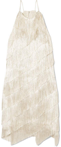 Halston Heritage - Tiered Fringed Satin-crepe Mini Dress - Cream