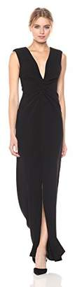 Halston Women's Cap Sleeve V Neck Rouched Front Gown