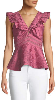 Rebecca Taylor Aly Sleeveless Floral Jacquard Peplum Blouse