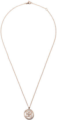 De Beers 18kt rose gold Enchanted Lotus Mother-of-Pearl Medal diamond large necklace