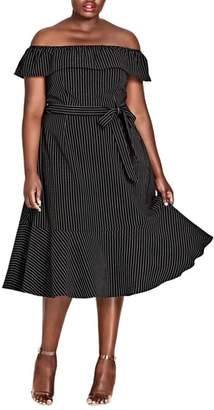 City Chic Midi Madame Stripe Off the Shoulder Dress