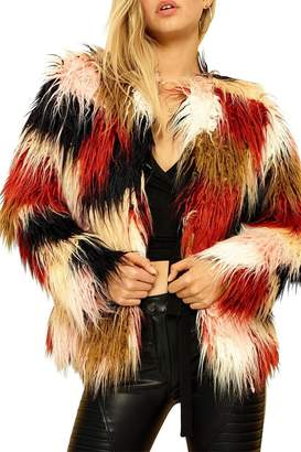 MinkPink Multicolor Fur Jacket