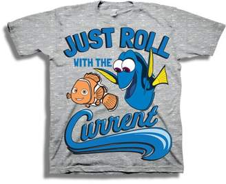 "FINDING DORY Toddler Boy Nemo and Dory ""Just Roll with the Current"" Short Sleeve T-Shirt"