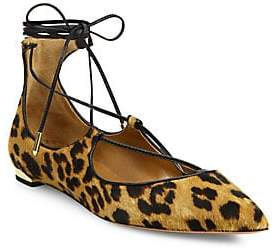 Aquazzura Women's Christy Leopard Print Calf Hair Lace-Up Flats
