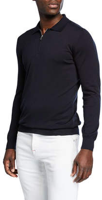 Kiton Men's Long-Sleeve Zip Polo Shirt