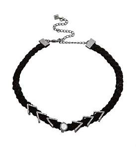 Rebecca Minkoff Arrows And Stone Charms On Braided Leather Choker
