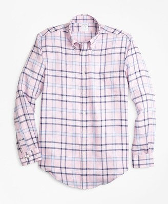 Brooks Brothers Regent Fit Tartan Irish Linen Sport Shirt