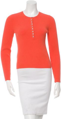 Michael Kors Rib Knit Jewel Button Closure Sweater