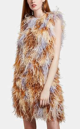 Givenchy Women's Feather-Embellished Crepe Shift Dress - Beige, Tan