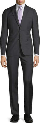 Neiman Marcus Slim-Fit Two-Piece Wool Suit, Black