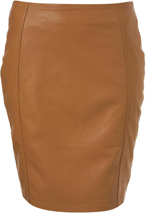 Premium Camel Leather Pencil Skirt