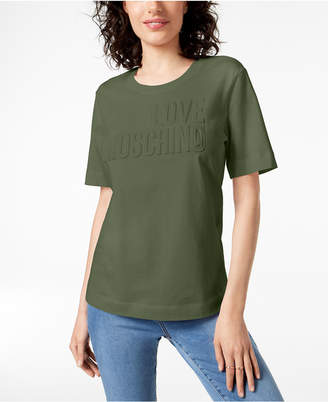 Love Moschino Cotton Textured-Graphic Shirt