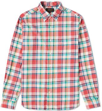 Beams Button Down Indian Madras Check Shirt