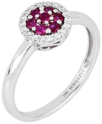 Bony Levy 18K White Gold Ruby & Diamond Stack Ring - Size 6.5