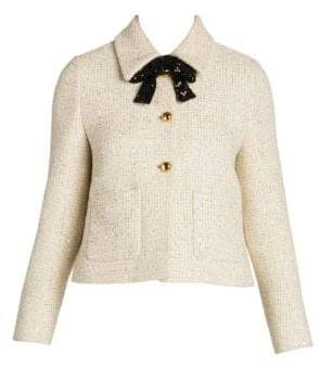 Miu Miu Sequin Tweed Bow Jacket