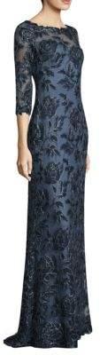 Tadashi Shoji Three-Quarter Sleeve Lace Gown