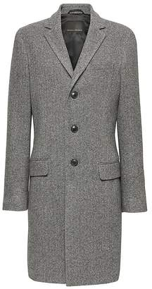Banana Republic Italian Melton Wool Blend Herringbone Topcoat