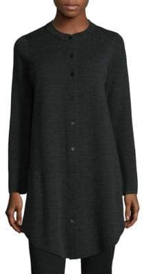 Eileen Fisher Mandarin Collar Wool Cardigan