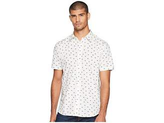 Ben Sherman Short Sleeve Peacock Feather Print Shirt Men's Clothing