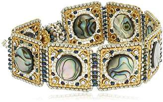 Miguel Ases Abalone and Swarovski Square Linked Magnetic Bracelet