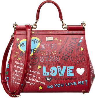 Dolce & Gabbana Medium Sicily Graffiti Leather Satchel
