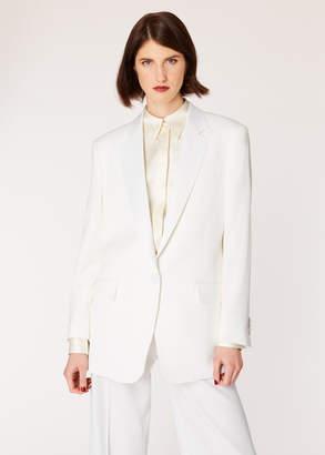 Paul Smith Women's Ivory One-Button Wool Boyfriend-Fit Tuxedo Blazer