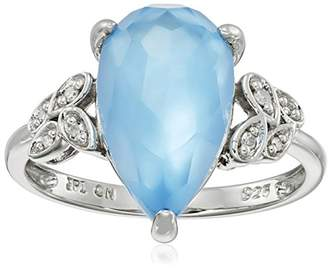 Mother of Pearl Sterling Teardrop Swiss-Blue-Topaz Over White Mother-Of-Pearl Doublet Diamond Ring
