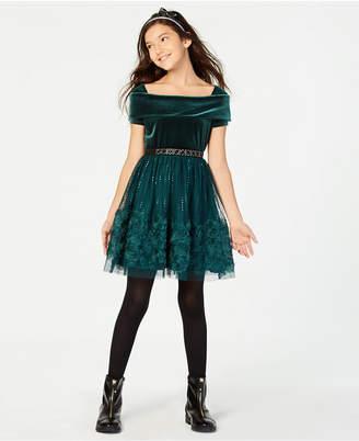 Beautees Big Girls Velvet Sequin Soutache Dress