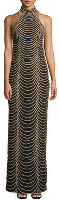 Jovani Halter-Neck Long Layered Chain Dress