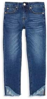 7 For All Mankind Little Girl's Frayed Cuff Skinny Jeans