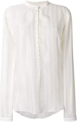 Saint Laurent lurex stripe collarless shirt