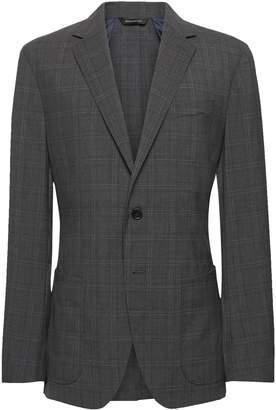 Banana Republic Slim Plaid Smart-Weight Performance Wool Blend Suit Jacket