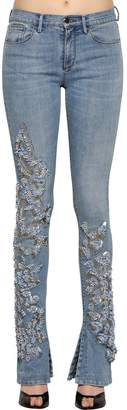 Roberto Cavalli Embellished Flared Stretch Denim Jeans