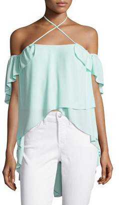 Cinq à Sept Carla Cold-Shoulder Crossover Halter Top, Light Aqua Blue