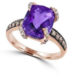 Effy Viola Amethyst, Diamond and 14K Rose Gold Ring