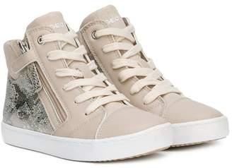 Geox snakeskin effect hi-top sneakers