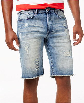 "Reason Men's 11"" Cut-Off Ripped Jean Shorts $68 thestylecure.com"