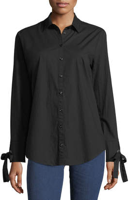 Velvet Heart Tie-Sleeve Button-Front Tunic