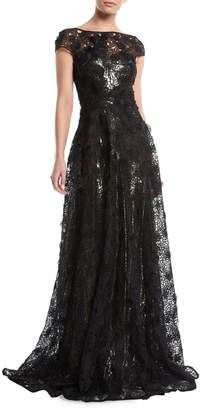 Naeem Khan Sleeveless A-Line Floral-Guipure Lace Evening Gown with Metallic Lining