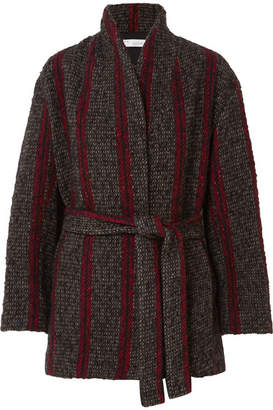 IRO Circus Belted Striped Wool-blend Coat - Anthracite