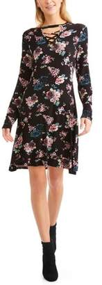 Cure Women's Criss Cross Front Floral Printed Swing Dress