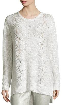 NYDJ Sparkle Embellished Oversized Crewneck Sweater $98 thestylecure.com