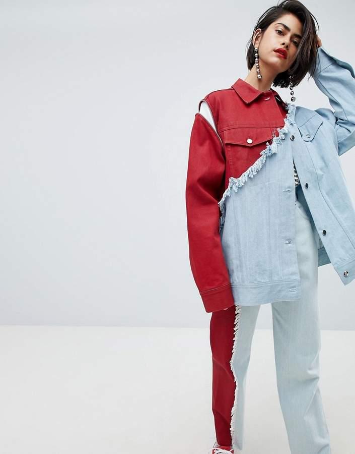 vivid contrast oversized denim jacket
