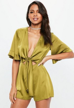 b806538b4f3 Missguided Chartreuse Satin Tie Front Kimono Sleeve Playsuit