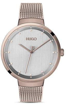 HUGO #GO Carnation Gold Mesh Bracelet Watch, 38mm